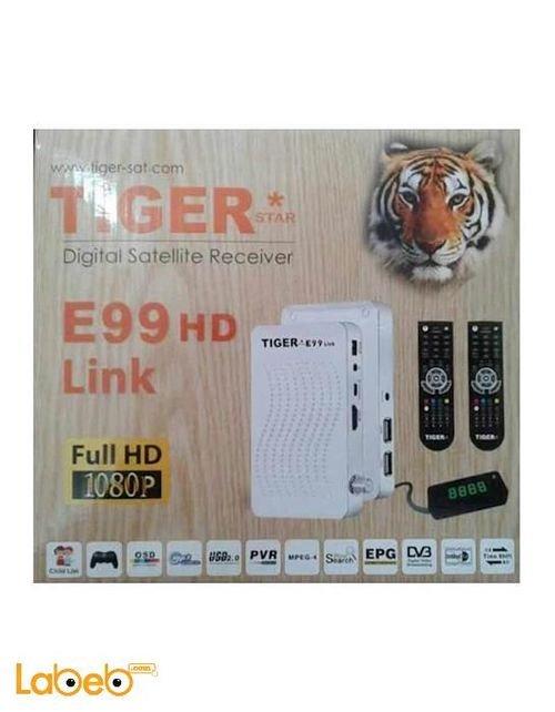 رسيفر تايجر E99 اتش دي لينك - دقة 1080 بكسل - ابيض - E99 HD Link