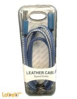 Blue Leather Cable Speed Enter USB charge cable for Iphone & Galaxy