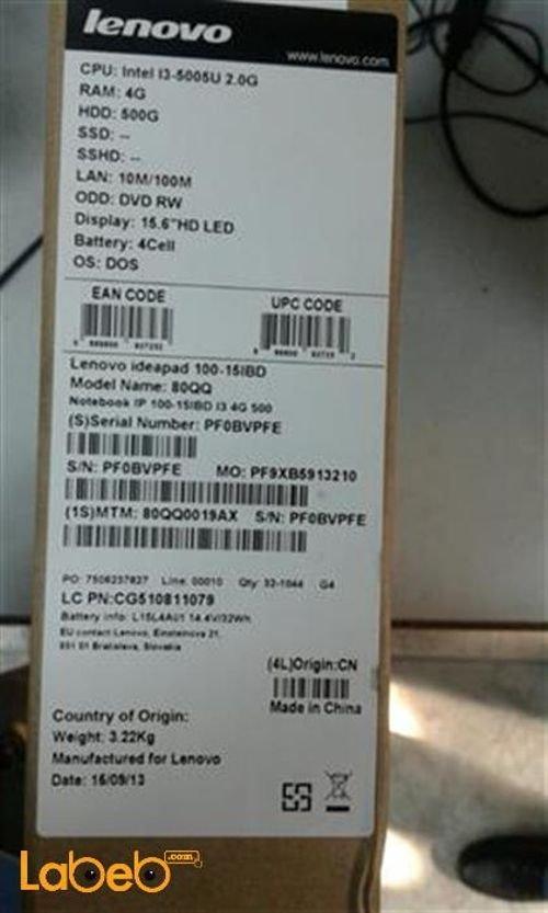 مواصفات لاب توب لينوفو IdeaPad 100-15IBD سلسلة QQ80 شاشة 15.6 انش