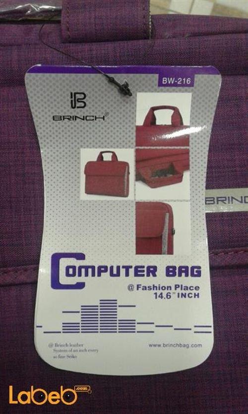 جانب حقيبة لاب توب Brinch حجم 14.6 انش بنفسجي BW-216