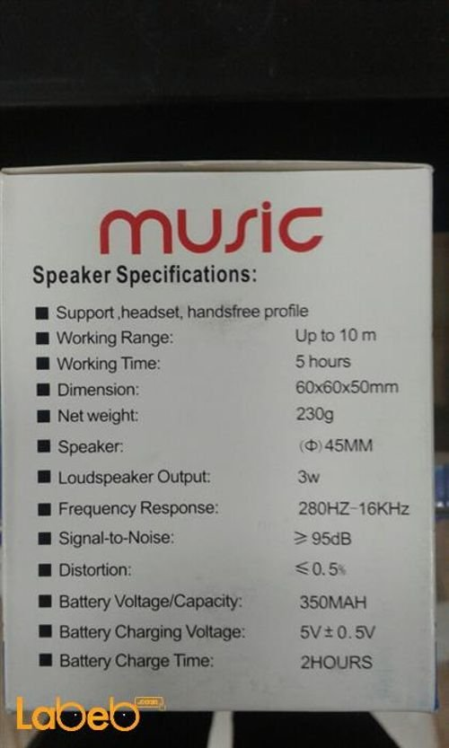 Music bluetooth speaker Specifications 350mAh Purple color