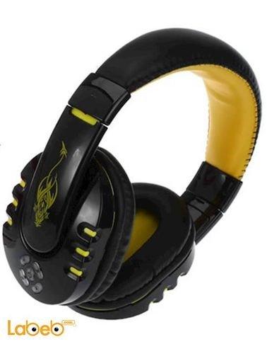 سماعات أذن لاسلكية - تدعم بلوتوث - لون أصفر - V8