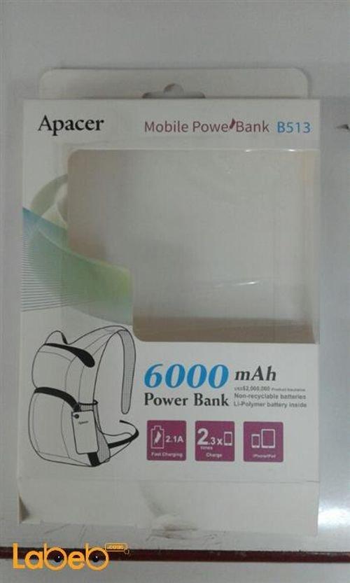 بطارية محمولة Apacer - سعة 6000mAh اسود B513