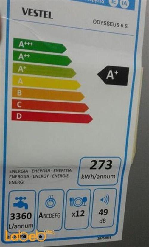مواصفات جلاية فيستل ODYSSEUS 6 S سعة 12 طقم لون فضي