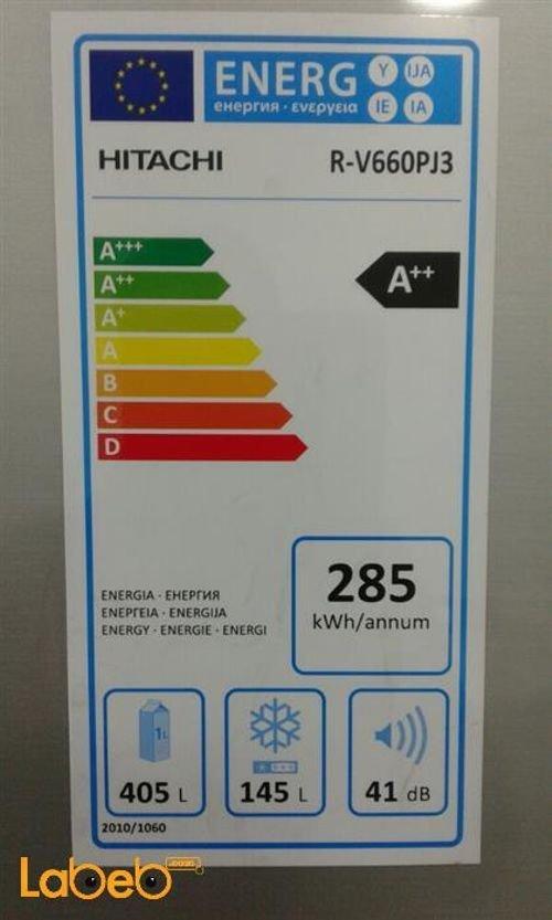 مواصفات ثلاجة هيتاشي حجم 30 قدم سعة 550 لتر لون سلفر R-V660PJ3