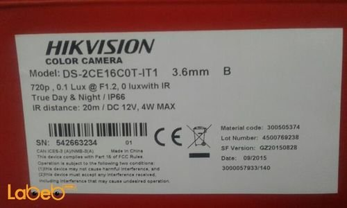 Hik vision HD Camera outdoor  Specifications day & night DS-2CE16C0T