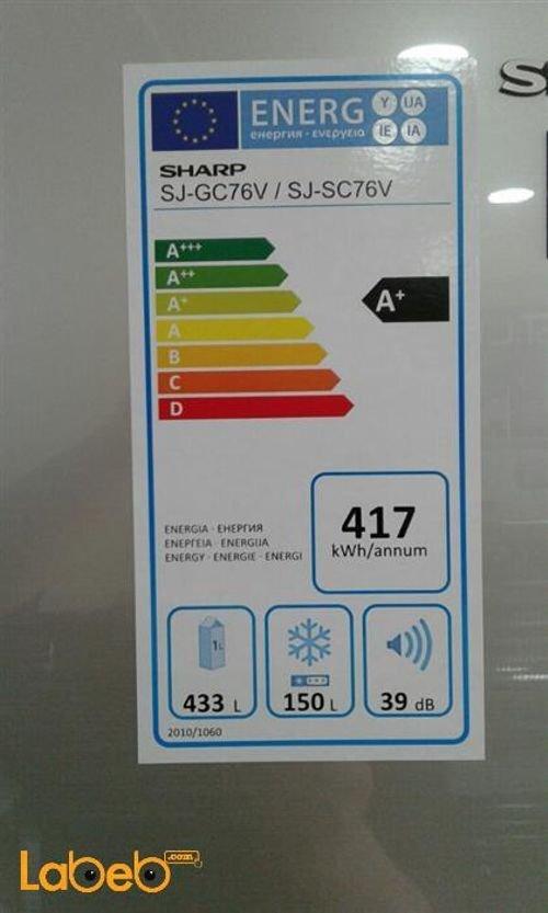مواصفات ثلاجة فريزر علوي شارب 26 قدم 583 لتر فضي SJ-GC76V