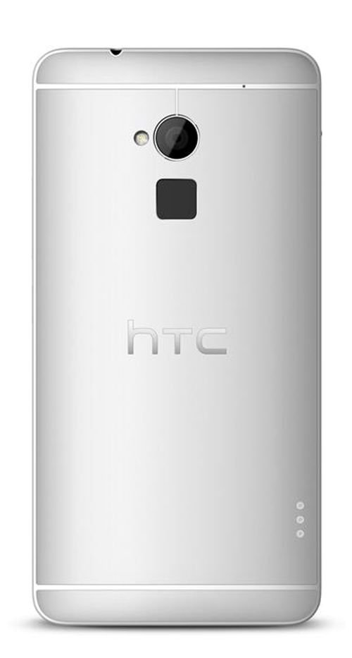 silver HTC one Max smartphone 16GB back