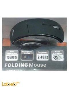 Crystal Wireleess Folding mouse - USB - 1600DPI - Black & Silver