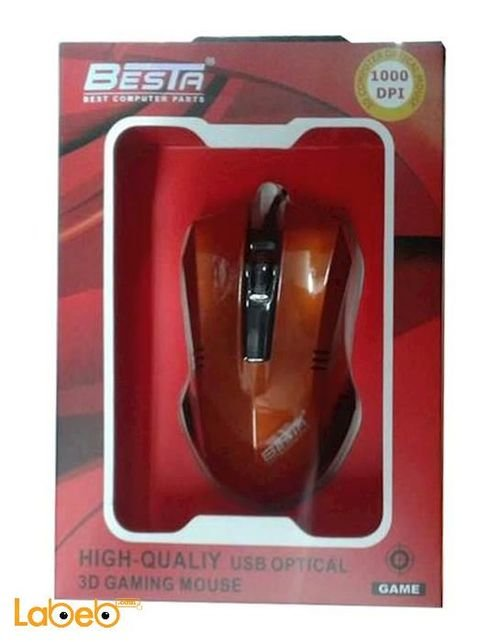 ماوس BESTA - منفذ يو اس بي - احمر - 1000dpi - موديل bt-601