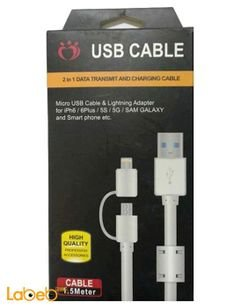 Micro Usb Cable and Lighting adapter For iPhone & Samsung - 1.5m