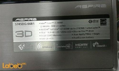 مواصفات لابتوب Acer موديل 5745DG-6681