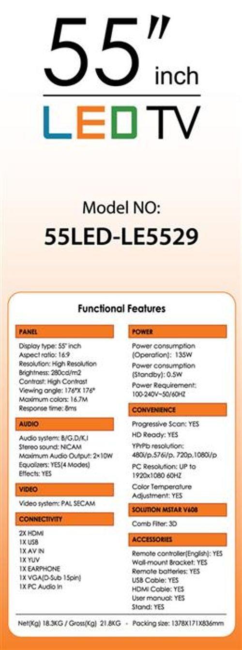 مواصفات شاشة LED تايجر 55 انش اسود  55LED-LE5529