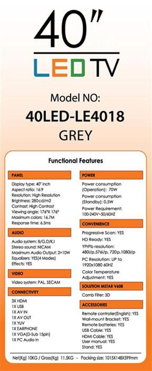 مواصفات شاشة LED تايجر 40 انش 1080 بكسل رمادي  40LED-LE4018