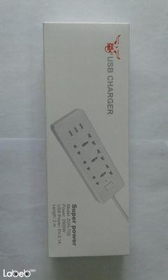 وصلة كهرباء مع مداخل USB - قدرة 2500 واط - 2 متر - Zgn-T02