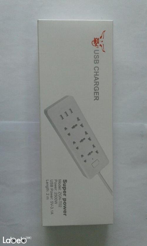 وصلة كهرباء مع مداخل USB قدرة 2500 واط Zgn-T02