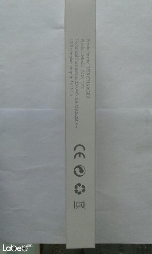 مواصفات وصلة كهرباء مع مداخل USB موديل Zgn-T02