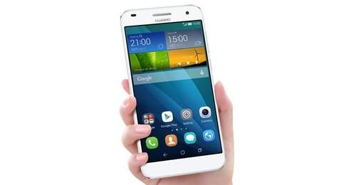Silver Huawei Ascend G7 smartphone screen