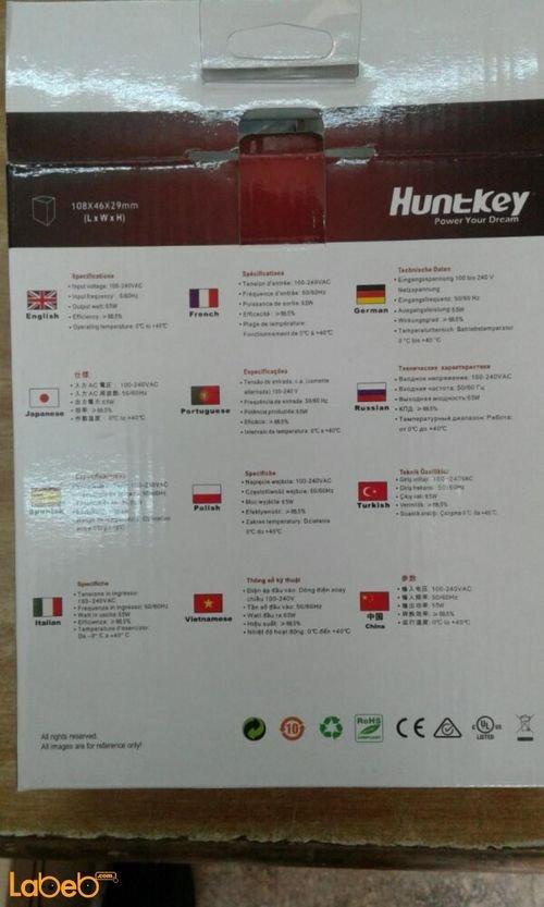 Huntkey laptop Adapter - Universal - 65 watt