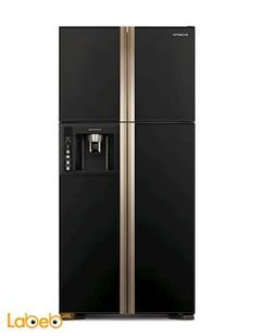 HITACHI side by side refrigerator - 540L - glass black - R-W660