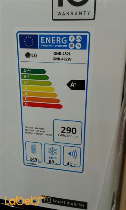 LG Top Mount Refrigerator Specifications 312L white GNB-482W