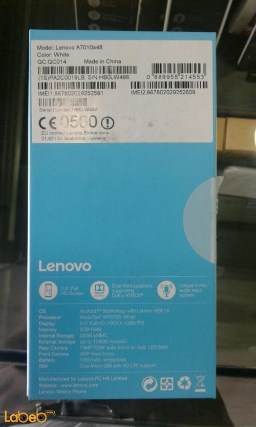 Lenovo A7010 smartphone Specifications White