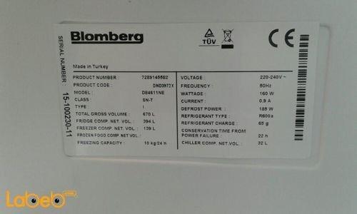 مواصفات ثلاجة بفريزر علوي Blomberg سعة 533 لتر DND3972X