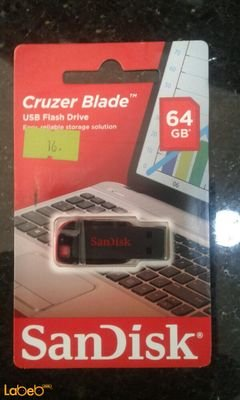 Sandisk USB Cruzer Blade Flash Drive - 64GB - Black and red