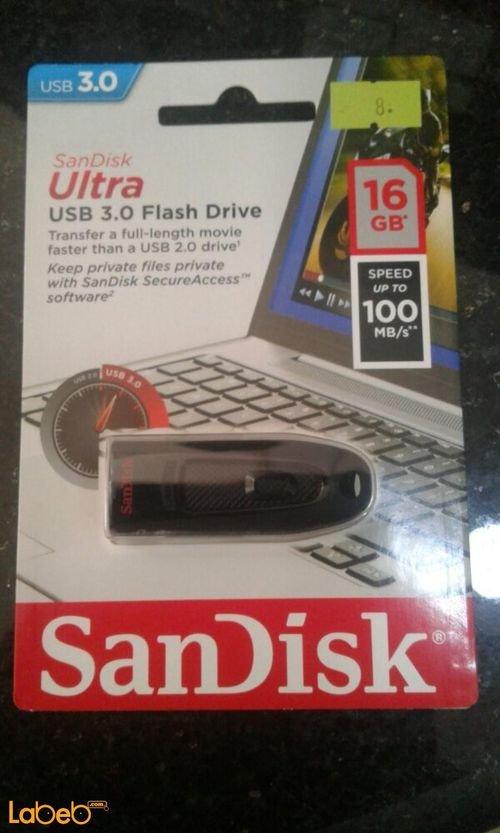 فلاش USB سانديسك 16 جيجابايت usb 3.0 أسود