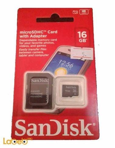 كرت ذاكرة ميكرو سانديسك - 16 جيجابايت - للموبايلات