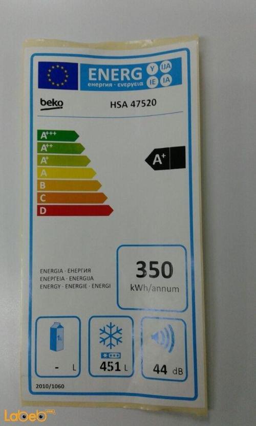 فريزر فتحة علوية بيكو سعة 451 لتر لون ابيض HSA 47520