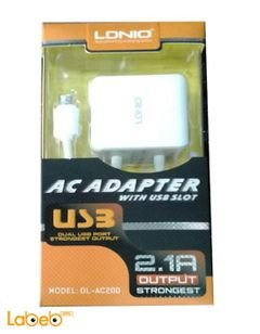 LDNIO AC adapter with usb slot - White color - DL-AC200 model