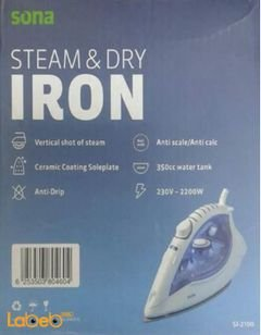Sona steam&dry iron - 2200W - ceramic coating soleplate - SI-2100