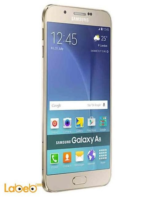 side Samsung Galaxy A8 smartphone 16GB gold Color