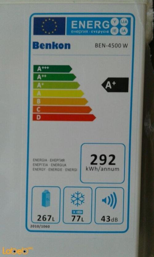 مواصفات ثلاجة بنكون سعة 344 لتر أبيض موديل BEN-4500 W