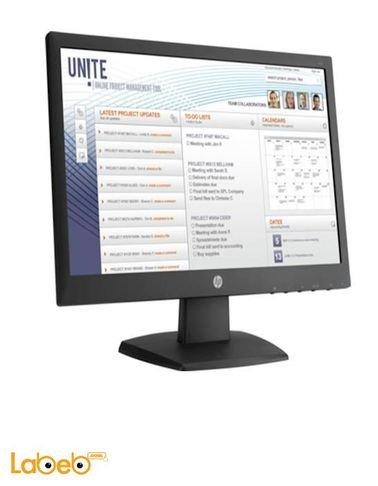 شاشة كمبيوتر HP حجم 18.5 انش اطار اسود موديل V197