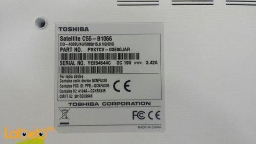 مواصفات لاب توب توشيبا ستالايت C55-B1066 كور i3 رام 4GB ابيض