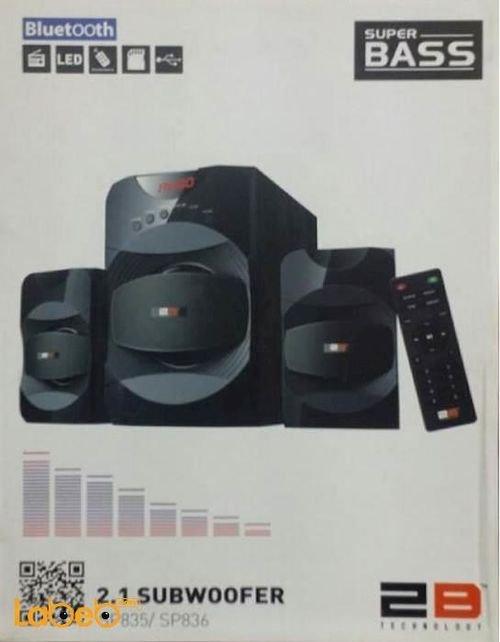 سماعات ومكبر صوت Super bass قدرة 40 واط اسود SP835