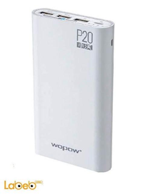 بطارية محمولة Wopow سعة 20000mAh ثلث منافذ USB أبيض موديل P20
