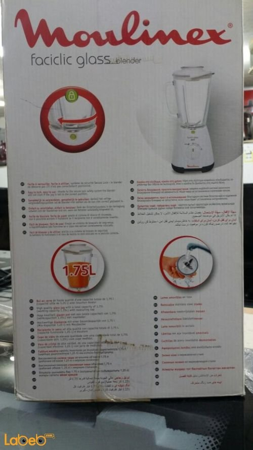 Moulinex faciclic glass blender specifications 1.75L LM310128