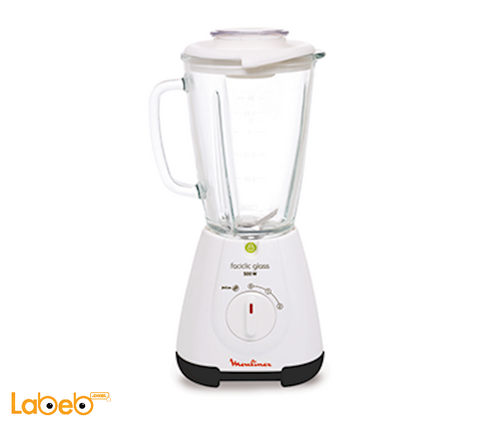 Moulinex faciclic glass blender 1.75L 500W White LM310128