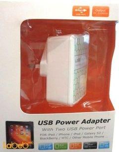 شاحن موبايل - 2 منافذ USB - الطاقة 110-240 فولت - لون ابيض