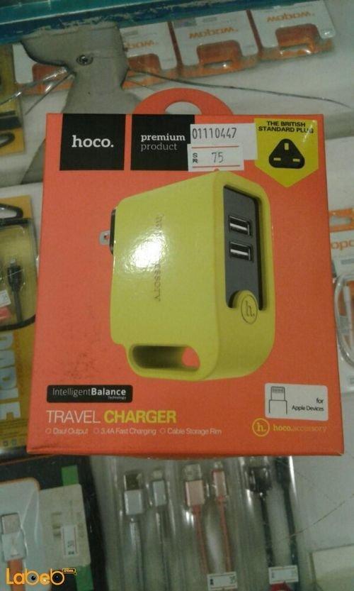 شاحن موبايل HOCO لون أصفر موديل UH203