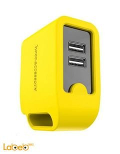 شاحن موبايل HOCO - منفذين USB - لون أصفر - موديل UH203