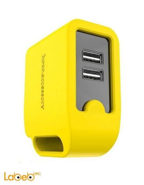 شاحن موبايل HOCO منفذين USB لون أصفر موديل UH203