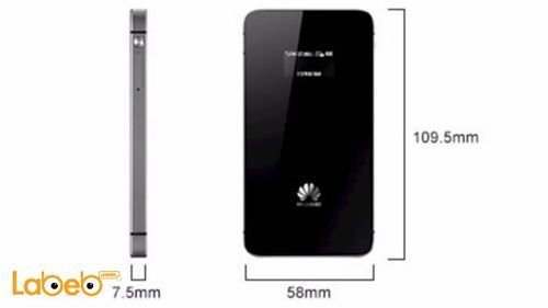 black Huawei mobile wifi 1900mAh Dimensions