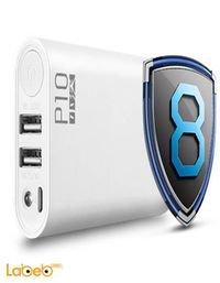 بطارية محمولة Wopow سعة 10000mAh منفذين USB أبيض P10