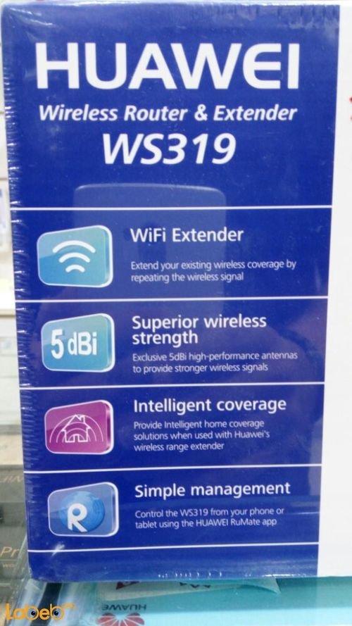 مواصفات راوتر وموسع نطاق شبكة هواوي 300Mbps أسود موديل WS319