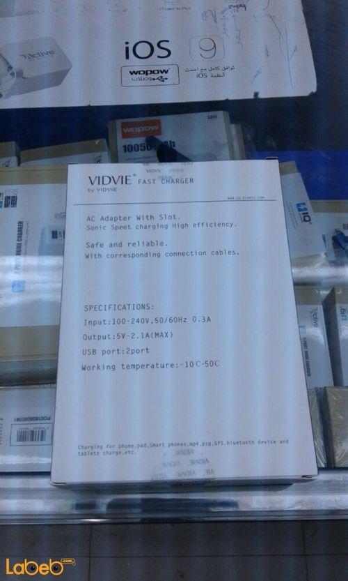 مواصفات شاحن Vidvie منفذين يو اس بي أبيض موديل VV-012