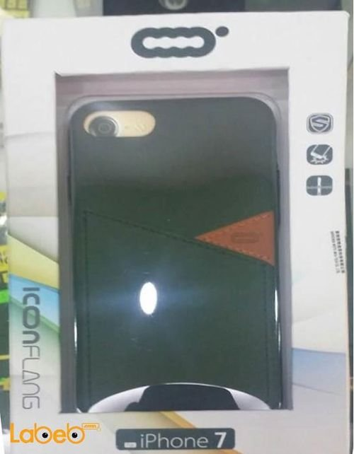 Icon flang mobile back cover for iPhone 7 Black color